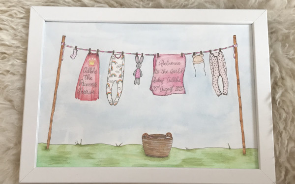 Hand drawn and Painted New Baby Clothesline