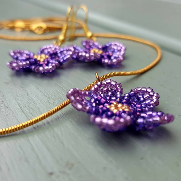 Floral Earrings and Pendant Set - Ombre Violet - IMG 20210528 170600 526