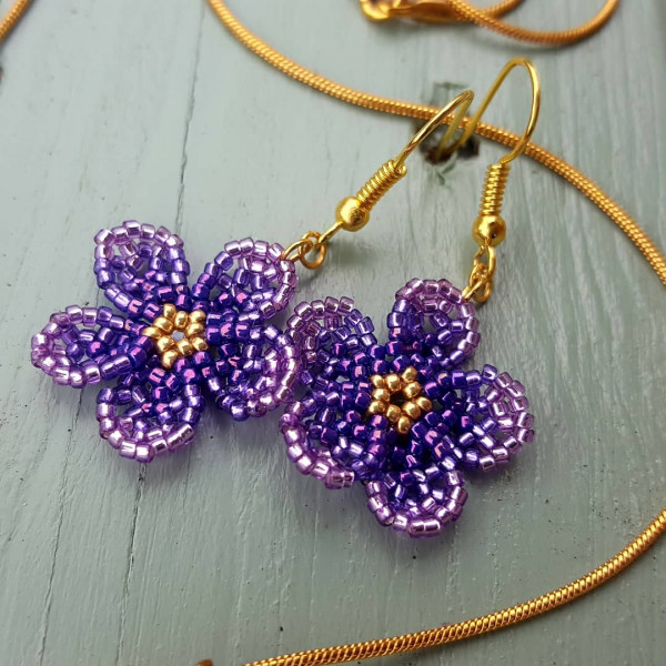 Floral Earrings and Pendant Set - Ombre Violet - IMG 20210528 170600 537
