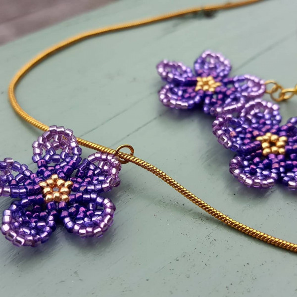 Floral Earrings and Pendant Set - Ombre Violet - IMG 20210528 170855 520