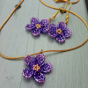Floral Earrings and Pendant Set - Ombre Violet