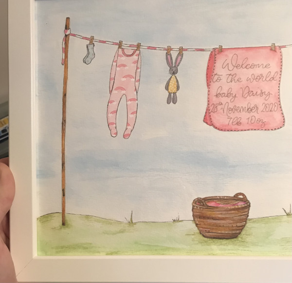 Hand drawn and Painted New Baby Clothesline - IMG 2128 scaled