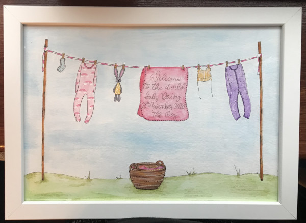 Hand drawn and Painted New Baby Clothesline - IMG 2131 scaled