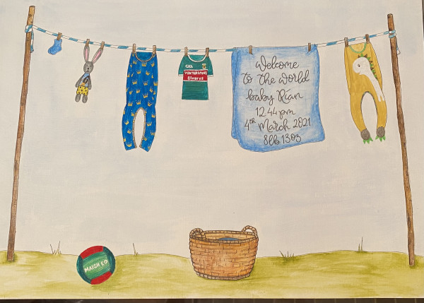 Hand drawn and Painted New Baby Clothesline - IMG 3526 scaled