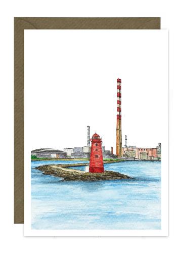 Poolbeg Lighthouse with Chimneys Dublin Card