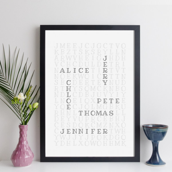 Personalised Family Crossword Print - outline style