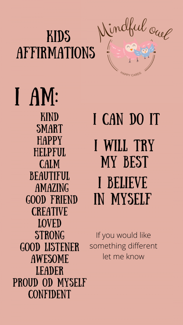 Daily Affirmation Cards for Girls 5-9years, 20 encouragement cards -