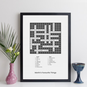 Personalised Traditional Crossword Frame With Clues