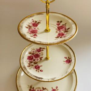 Cake Stand - 3 Tier Pink Rose Irish Carrigaline Pottery