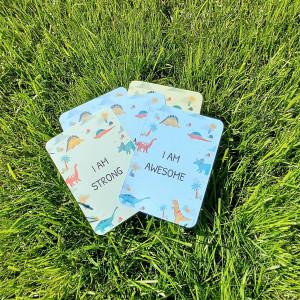 10 Kids Affirmation Cards - Dinosaur Prints