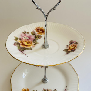 Cake Stand - 2 Tier Floral Regal Heritage Fine China