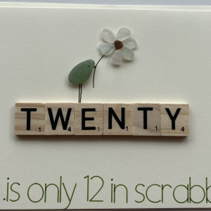 Scrabble Birthday Cards with Seaglass