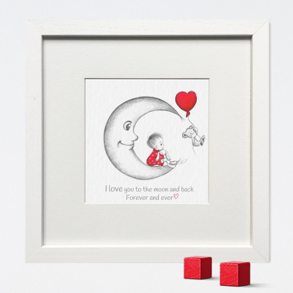 The Moon Nursery Print - I LOVE YOU TO THE MOON AND BACK mock up