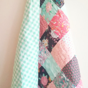 Mini Floral with Green Gingham Baby Quilt