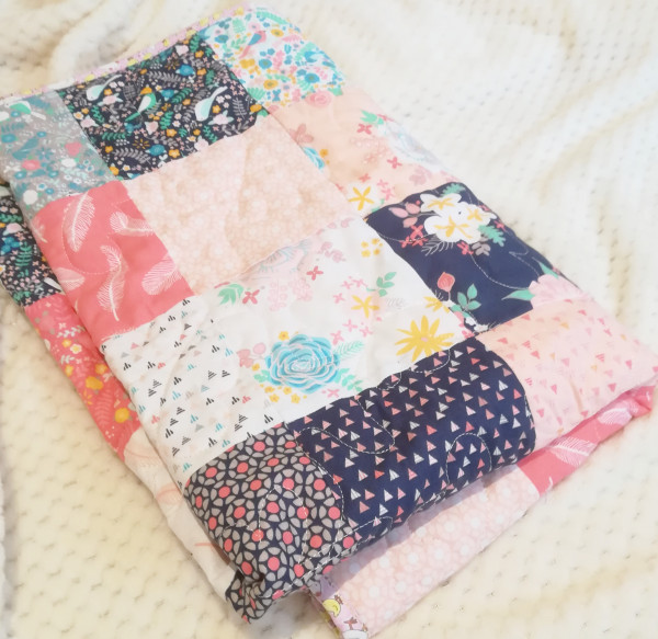 Modern Florals with Chicckie Binding Baby Quilt - IMG 20190517 161629 02 scaled