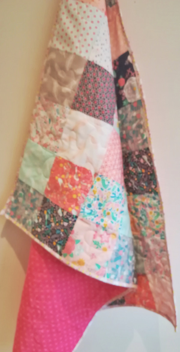 Modern Florals with Chicckie Binding Baby Quilt