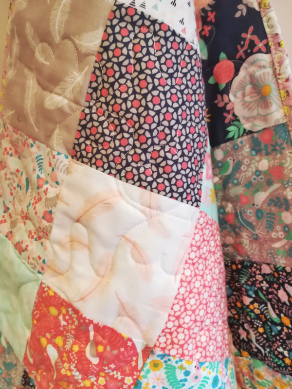 Modern Florals with Chicckie Binding Baby Quilt - IMG 20190517 161705 01 scaled