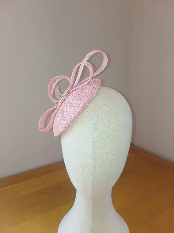 Judy Headpiece: Pink Sinamay Button Fascinator - IMG 20210527 124423 scaled