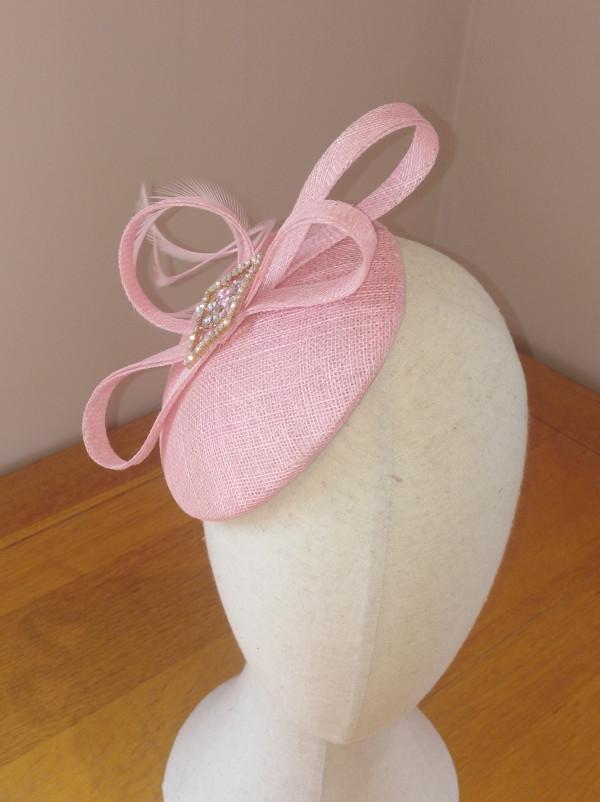 Judy Headpiece: Pink Sinamay Button Fascinator