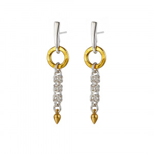 Handmade Sterling silver delicate Byzantine chainmail, small yellow gold vermeil hammered ring & drop earrings