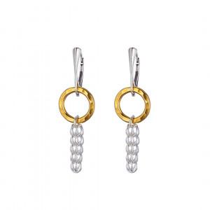 Handmade Circle of Life Persian Chainmail yellow gold circle earrings