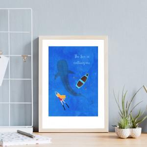 The Sea Is Calling Me - A4 Art Print