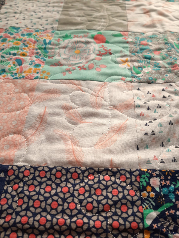 Mini Floral with Green Gingham Baby Quilt - coral bird backing navy binding 5 scaled