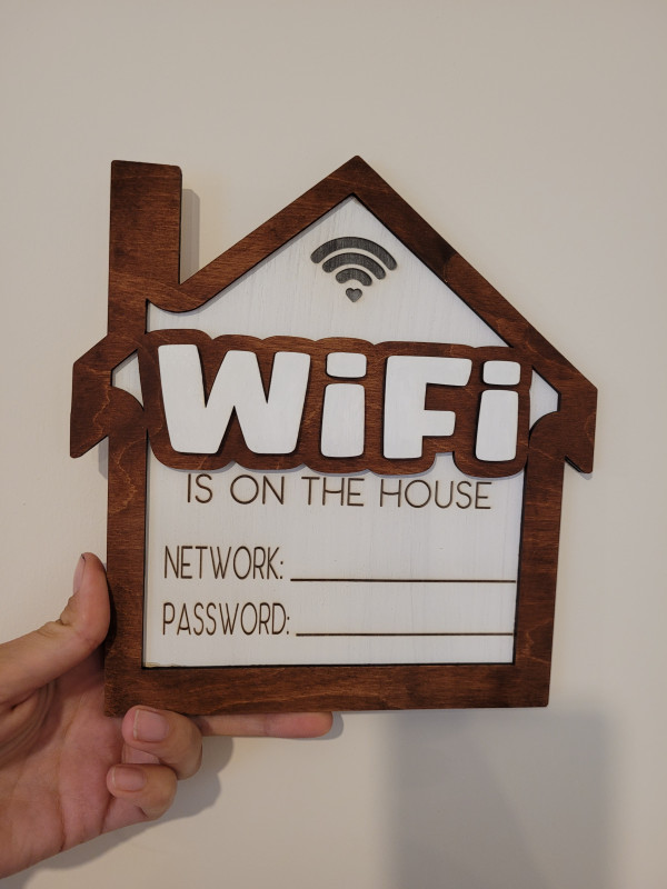 Wooden Wifi Network Sign