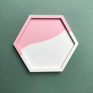 Pink Colour Block Hexagon Tray