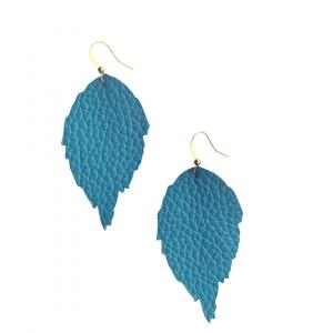 Sky Blue Leather Leaf Earrings