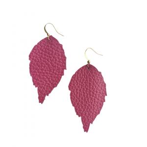 Pink Leather Leaf Earrings