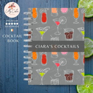 Grey Personalised Cocktail Recipe Book
