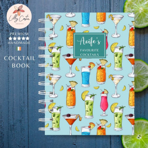 Blue Personalised Cocktail Recipe Book