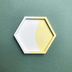 Yellow Colour Block Hexagon Tray