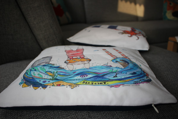 Cushion cover illustrated