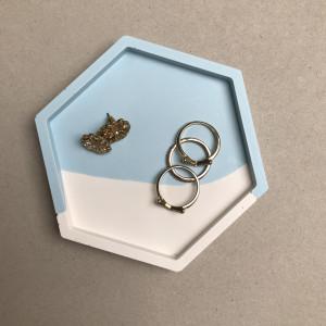 Blue Colour Block Hexagon Tray