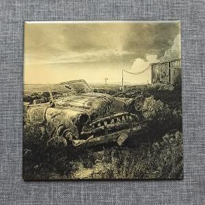 A Wreck of a Vintage Car 1 Engraved on Ceramic Tile