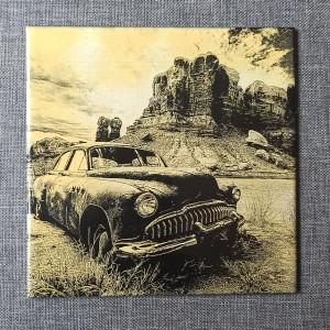 A Wreck of a Vintage Car 2 Engraved on Ceramic Tile