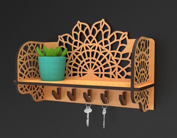 Handmade Wooden Key Holder - Mandala Key Holder 1