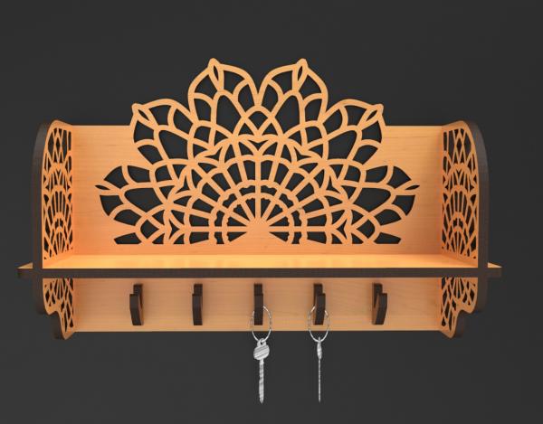 Handmade Wooden Key Holder - Mandala Key Holder 2