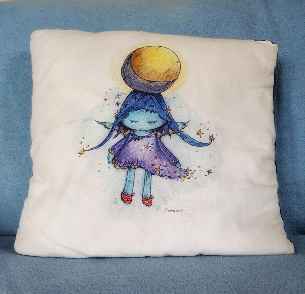 Cushion cover with girl
