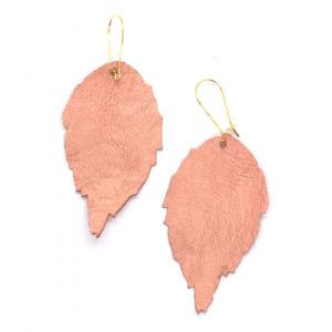 Blush Leather Leaf Earrings
