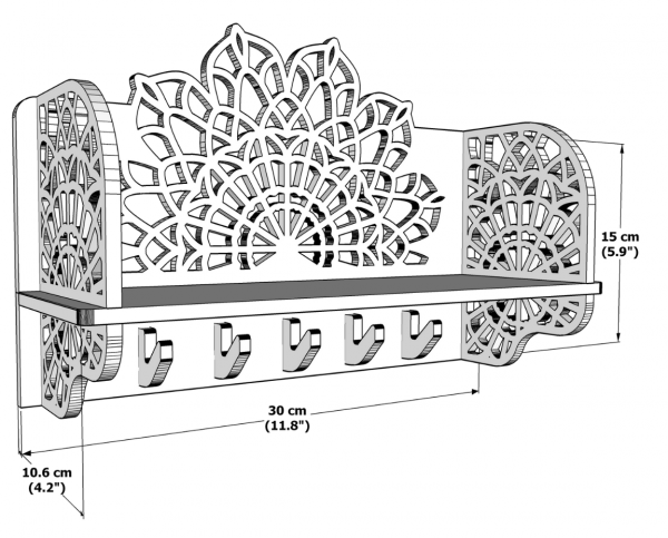 Handmade Wooden Key Holder - Size