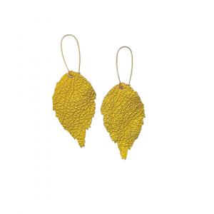 Mustard Leather Leaf Earrings