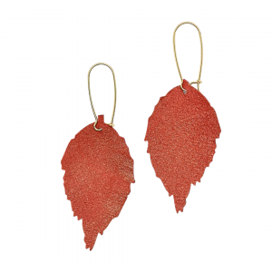 Red Sand Leather Leaf Earrings