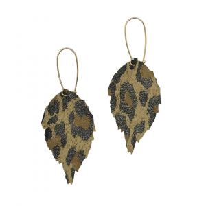 Leopard Print Leather Leaf Earrings