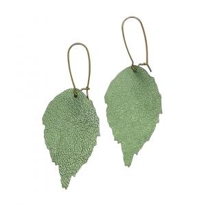 Green Snakeskin Leather Leaf Earrings