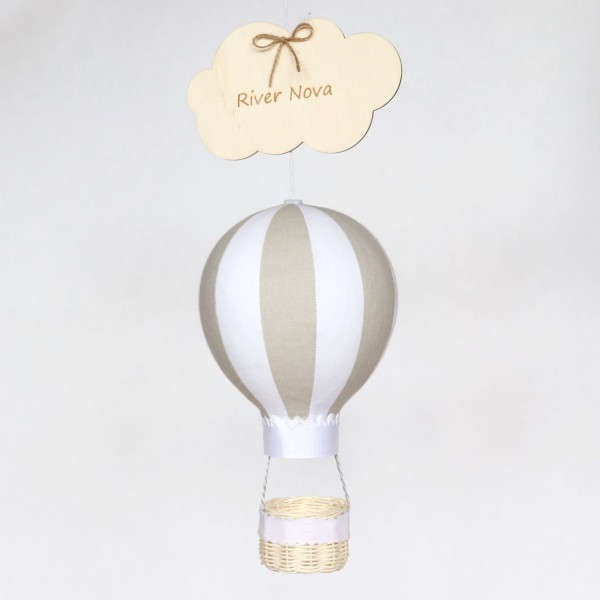 Striped Beige and White Personalised Hot Air Balloon