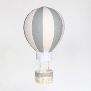 Striped Grey and White Personalised Hot Air Balloon