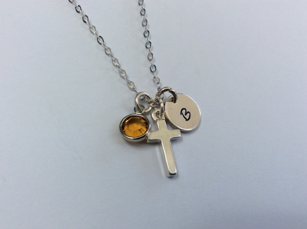 Dainty Holy Communion Personalised Necklace with Birthstone - 310D6394 D210 4144 8558 7972EAE81F2C scaled